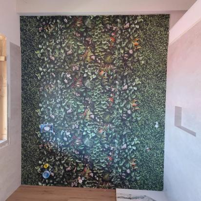 parete bagno con effetto tappezzeria Glam
